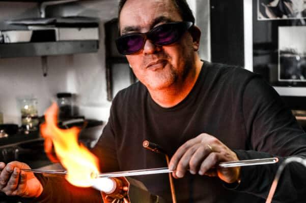 Glasblazer Glaskunstenaar Alwin Overwater