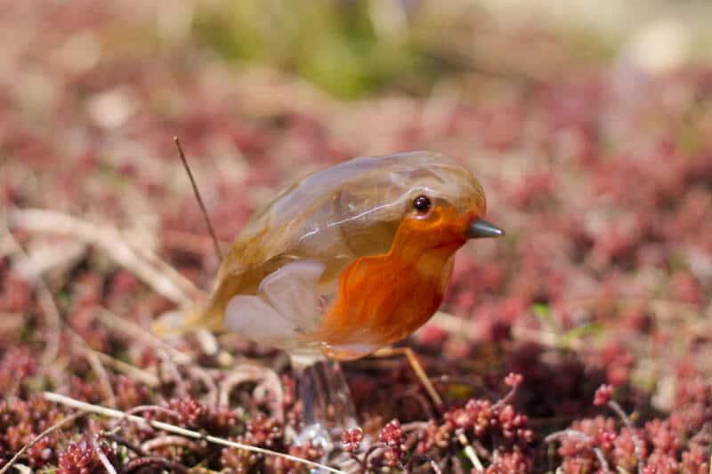 """Glazen vogel """"roodborstje"""""""