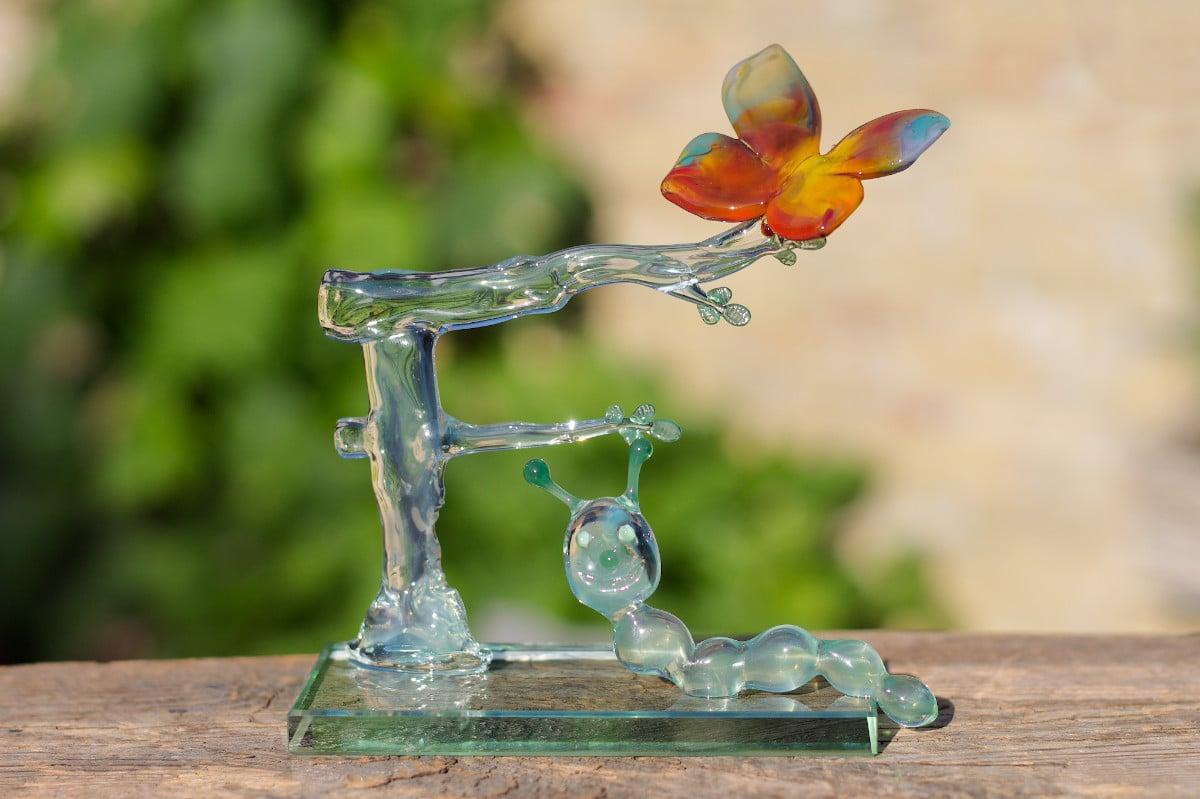 Glassculptuur OBS 't Fonnemint - St. Annaparochie | Glazen vlinder