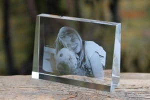 Foto in glas - Lasergravure Kristal Asym Horizontaal 140x100x35