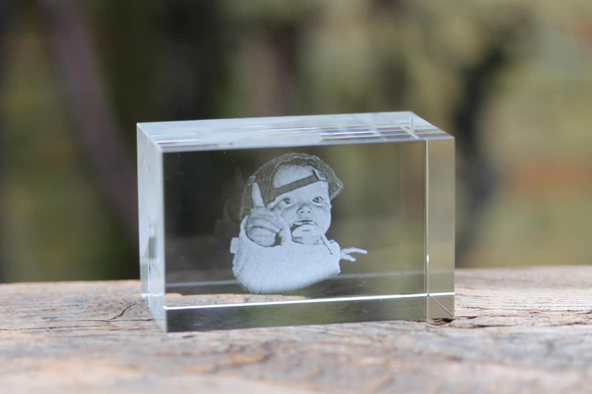 Foto in glas - Lasergravure Kristal Blok Horizontaal 50x50x80 2D