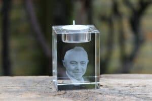 Foto in glas - Lasergravure Kristal Waxine 60x60x80 3D
