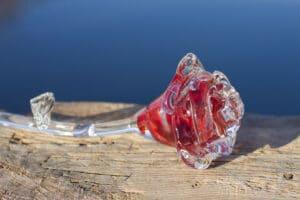 Glazen Roos rood